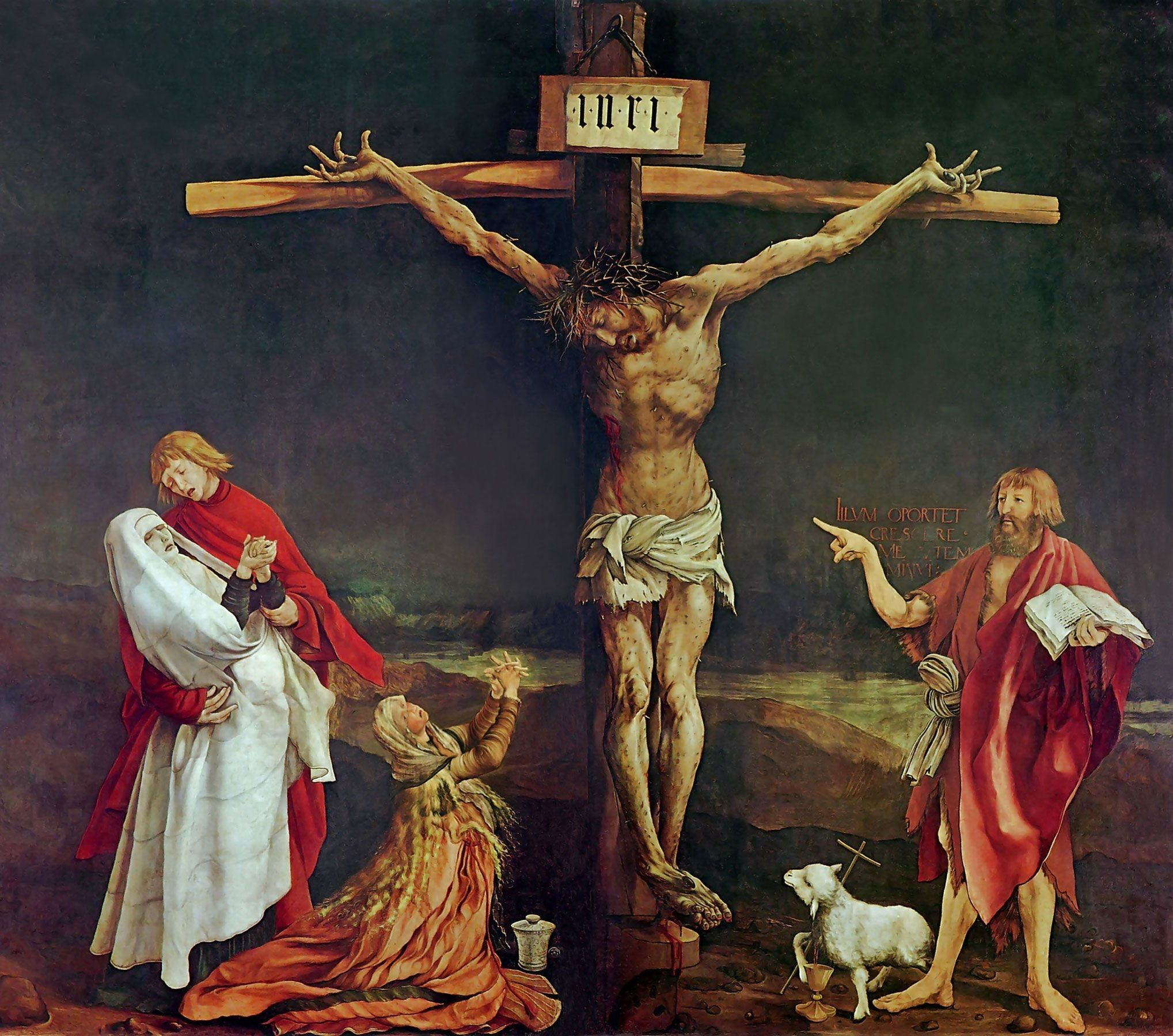 Christ Painting Cross Flag Green Red Angels