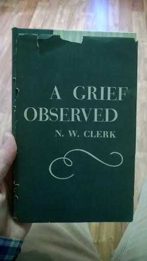 "Lewis originally published ""A Grief Observed"" under the pseudonym, N.W. Clerk in hopes that he would not offend any of his well-meaning friends whose attempts at comfort are openly criticized. However, Lewis's writing is somewhat easy to identify, causing him to release the book again with his typical signature, C.S. Lewis. I happened to find the copy pictured here in a hotel library in Pasadena, CA."